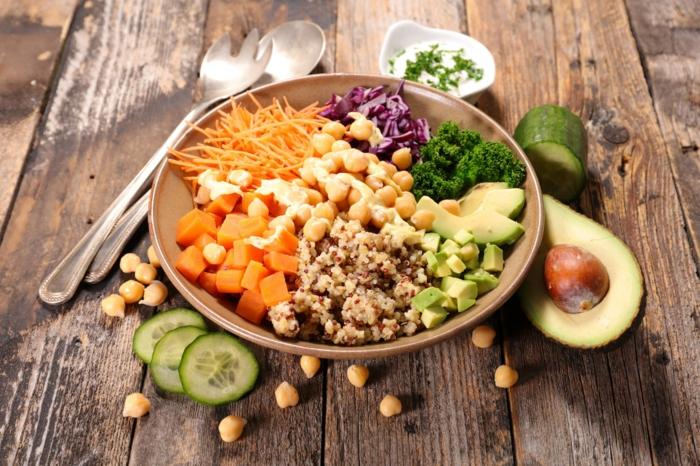 ensaladas ricas y super saludables para preparar en casa, trozos de batatas, quinoa cocida, garbanzos y trozos de aguacate