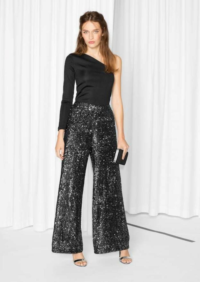 outfit super elegante en negro para una fiesta de nochevieja, vestidos nochevieja 2019 glamurosos, pantalón negro con brillo