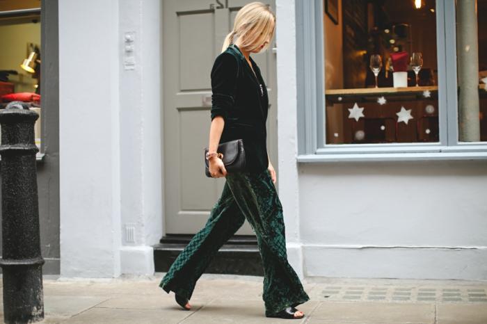 atuendo de terciopelo color verde oscuro, las mejores propuestas de ropa de fiesta 2019 2020, prendas elegantes