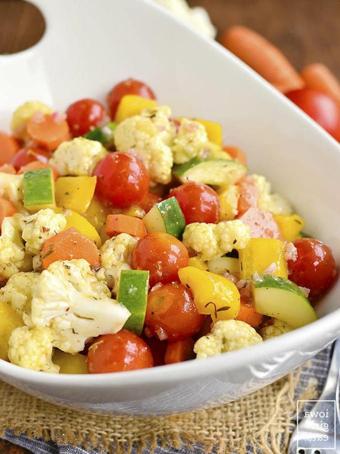 platos saludables para pequeños y adultos, comidas ricas y fáciles de hacer, coliflor, calabacines y tomates cherry