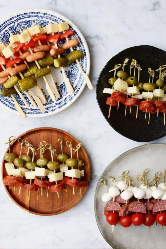 pinchos fáciles y atractivos, las recetas más sencillas de pinchos y tapas para una fiesta de cumpleaños, fotos de platos