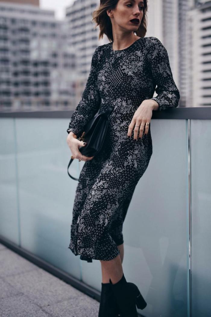 vestido negro de seda con estampado floral, ropa de fiesta y vestidos elegantes para ir de fiesta en Nochevieja