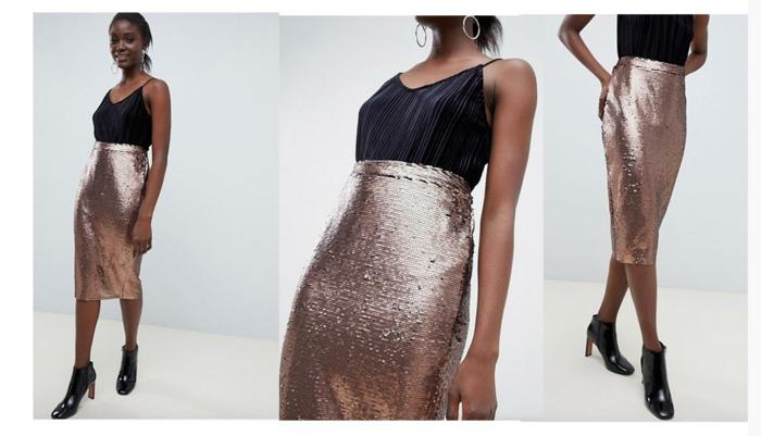 elegante look con una falda midi con brillo color oro rosa y una blusa de satén color negro, atuendos para una fiesta de Nochevieja