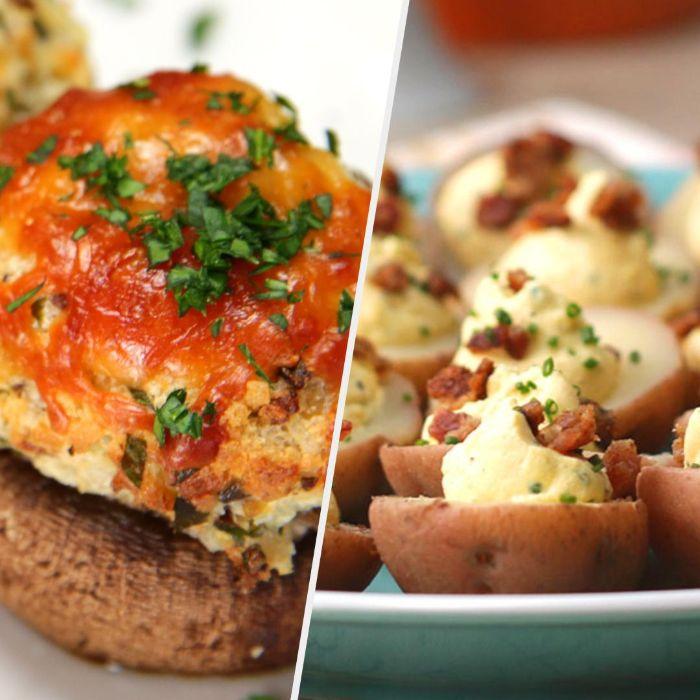 papas y champiñones rellenos, ideas de recetas de comidas vegetarianas, originales propuestas sobre qué preparar para una fiesta de cumpleaños