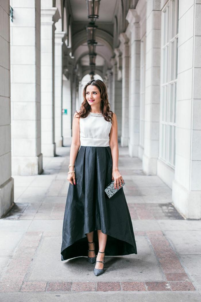 super elegantes ideas de vestidos para una fiesta de fin de año, falda larga asimétrica y parte superior sin mangas