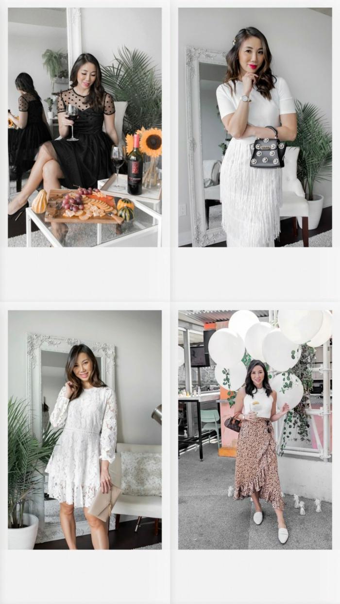cuatro propuestas para una fiesta de Nochevieja casual, ideas sobre como combinar la ropa para nochevieja para una cena con amigos