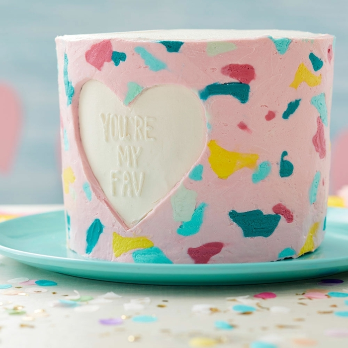 lovely proposals for original birthday cakes for adults, pink icing cake with color spots