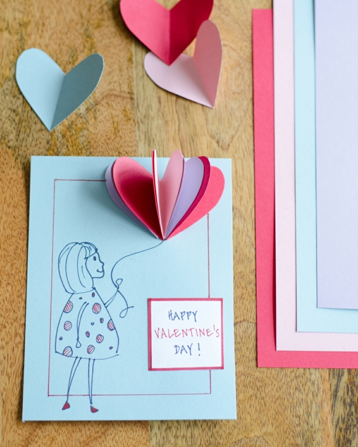 ideas creativas de tarjetas de san valentin rápidas, fáciles y super originales, fotos de tarjetas con elementos de papel 3 D