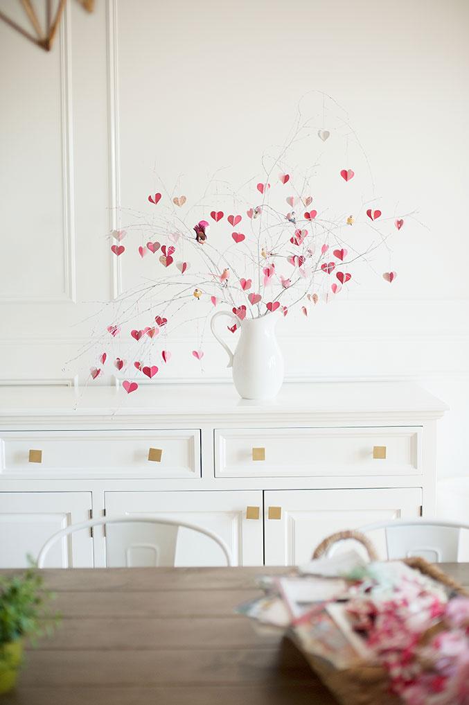 árbol con flores 3 D bonitas, ideas de decoración casera en San Valentin, fotos de proyectos DIY para decorar la casa