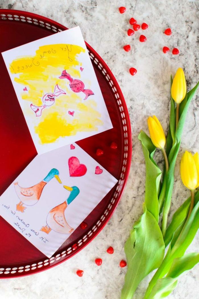 tarjetas con dibujos de acuarelas, simpáticas ideas de manualidades san valentin y manualidades infantiles en tutoriales