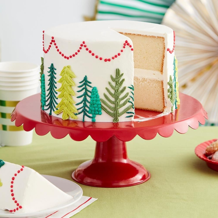 homemade white cake with nice pictures of trees in the different shades of green, pretty personalized cakes in photos