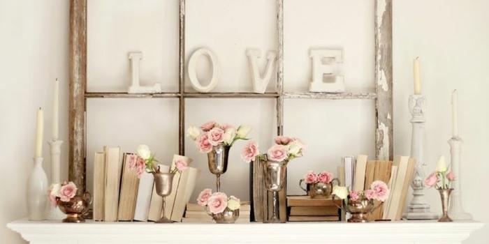decoración para la pared, libros y decoracion original para el dia de san valentin, decoracion en estilo vintage, habitaciones decoradas romanticas