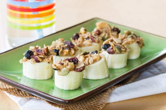 bocados con plátanos y cereales, las mejores ideas de comidas saludables para toda la familia, comidas para merendar