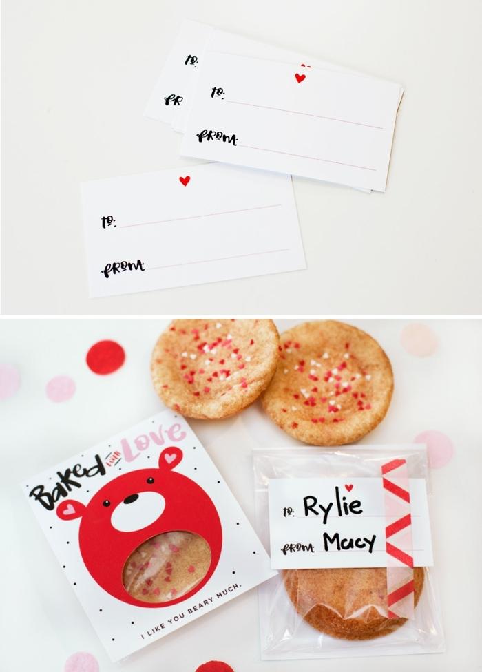 tratos para regalar en el Día de San Valentín, fotos de tarjetas con caramelos y galletas dentro, tarjetas con sorpresa