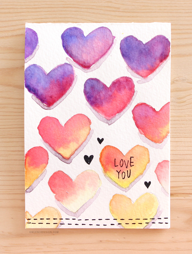 preciosa tarjeta con dibujos en acuarela, postales de amor románticos y hermosos, ideas de postales originales y bonitos