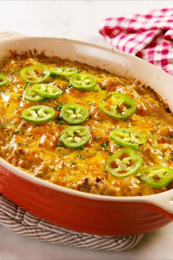 caserola con quesos y pimientos verdes, las mejores ideas de recetas para preparar en casa, dieta cetogenica menu semanal