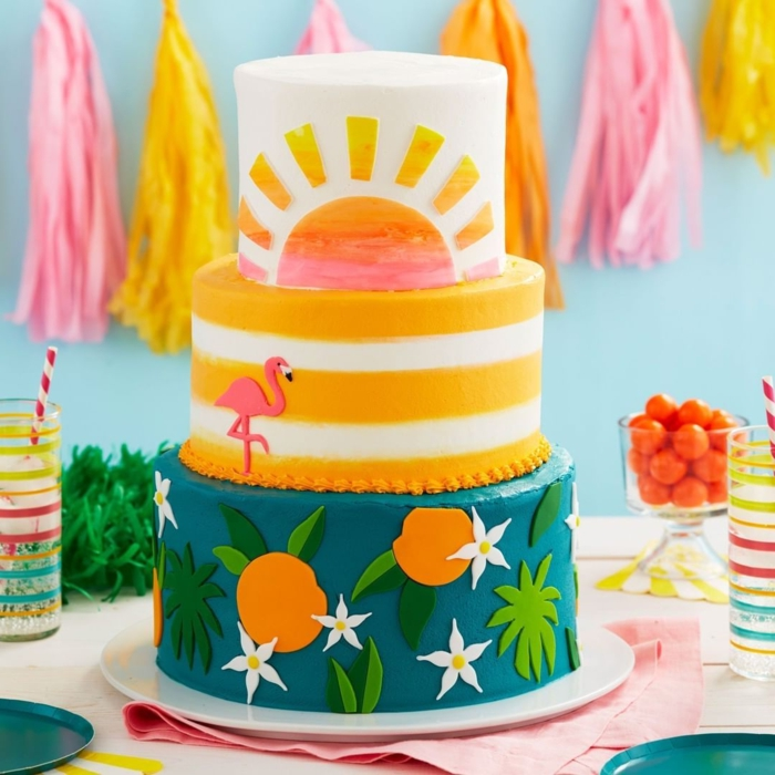 super shocking ideas and photos of birthday cakes, cake on three floors with summer details, decorated cake ideas