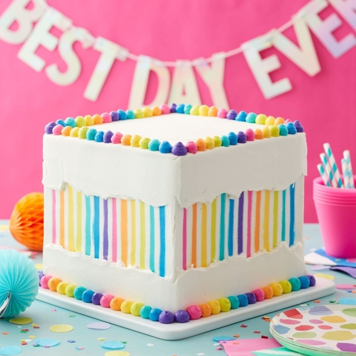how to decorate a cake in different colors, photos of original and easy to make birthday cakes, nice colored cakes