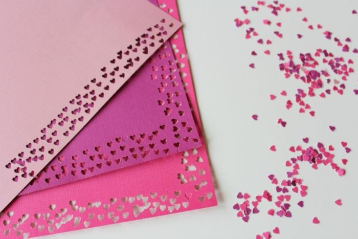 pasos para hacer tarjetas con confetti en forma de corazones, tarjetas san valentin originales y bonitas paso a paso