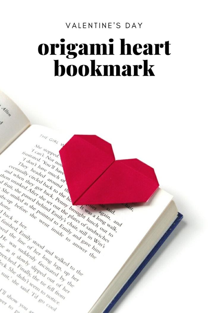 marcarpaginas origami en forma de corazón, adorables propuestas de pequeños detalles san valentin para regalar