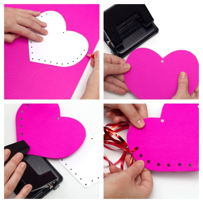 pasos para hacer manualidades para San Valentín originales, tarjetas en color rosado bonitas que esconden un mensaje de amor