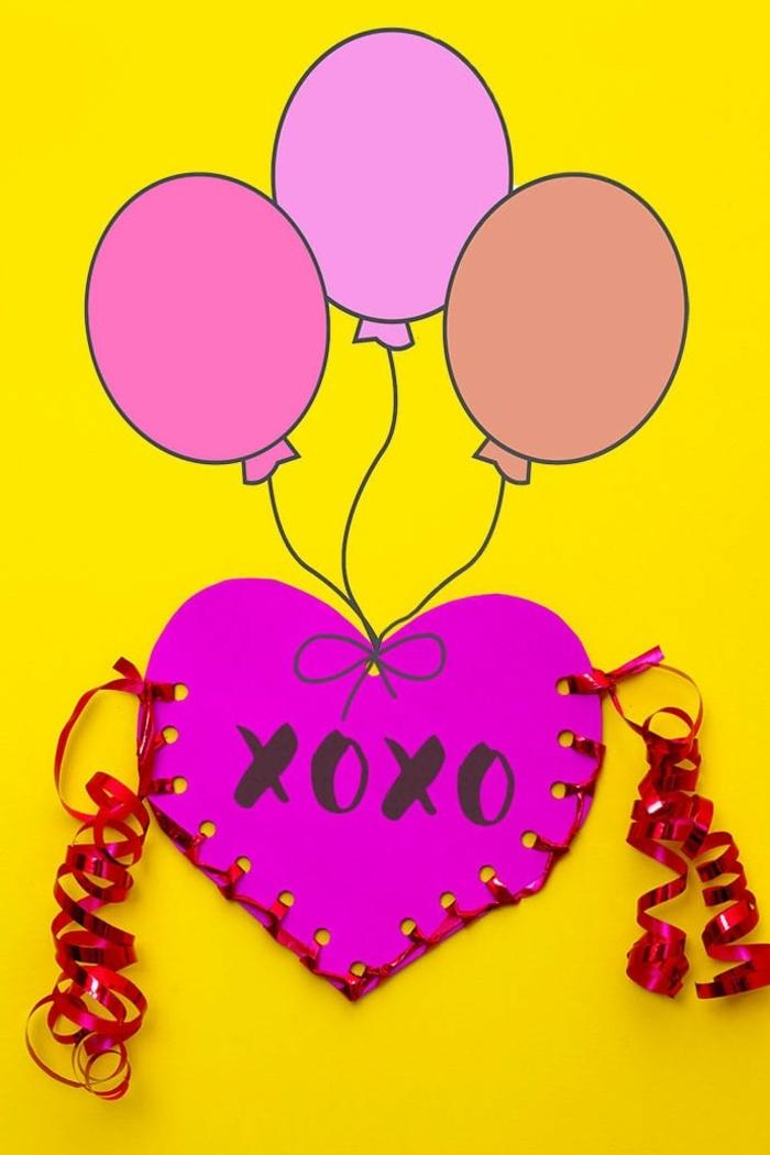 tarjetas originales personalizadas para hacer en casa, tarjeta de cartulina color rosado con cinta decorativa, postales de amor originales
