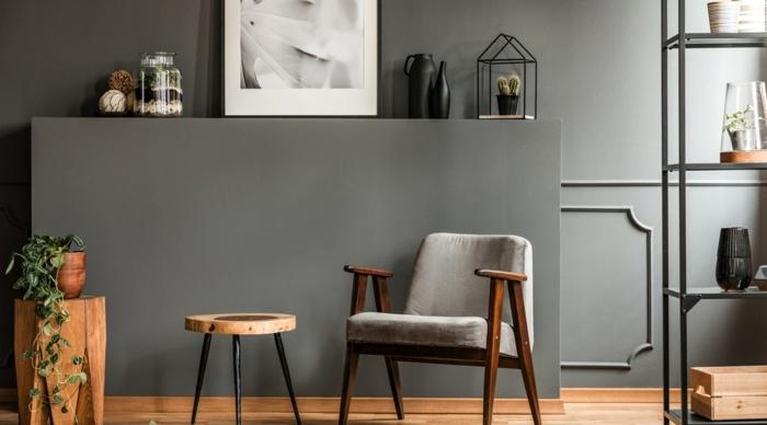 salón decorado en gris con muebles de madera, ideas de colores modernos para decorar la casa en 2020, fotos de casas modernas