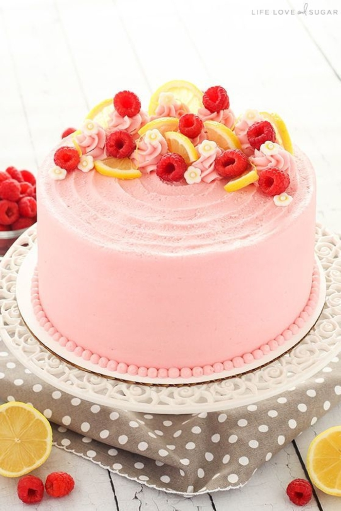 beautiful cake decorated with raspberries and lemons, original ideas and photos of birthday cakes to inspire you