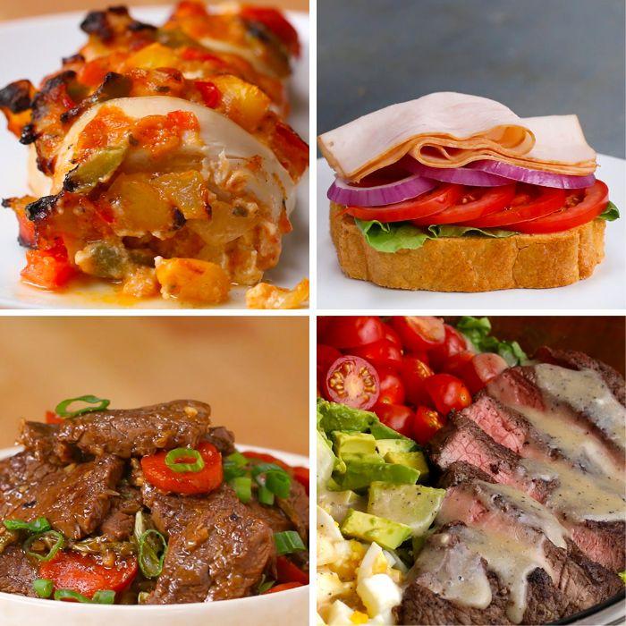 cuatro ideas para un menu dieta cetogenica, ideas de platos con carne para desayuno, almuerzo y cena, fotos de recetas