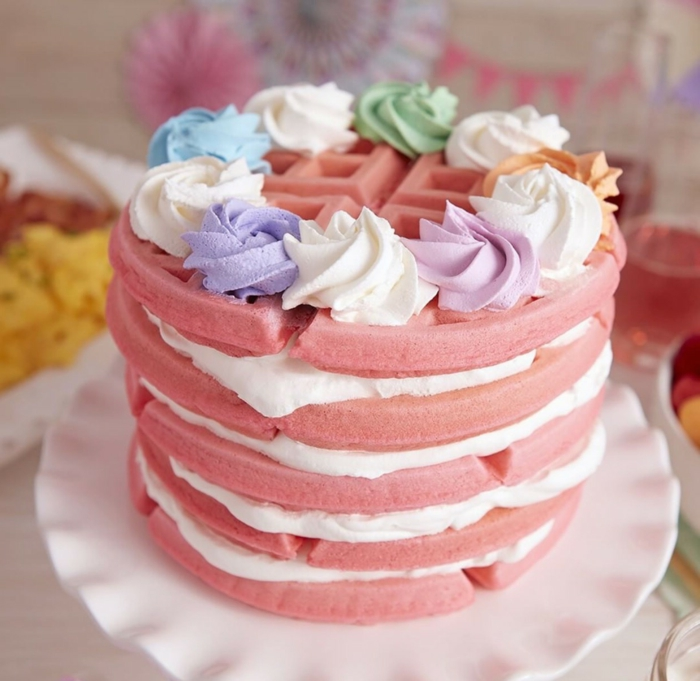 cute and original homemade birthday cake ideas, pink waffle cake with icing sighs