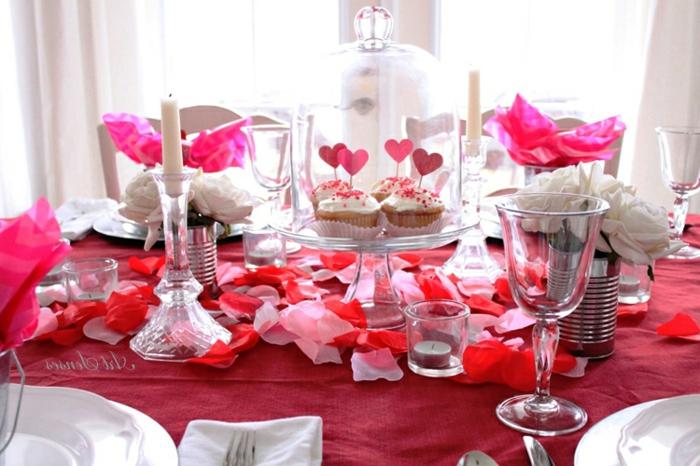 como decorar la mesa para una cena de san valentin, fotos bonitas de decoracion romantica, detalles decorativos DIY