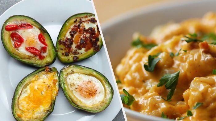 aguacates rellenos con huevos estrellados y especias, originales ideas de recetas y dieta cetogenica opiniones en fotos