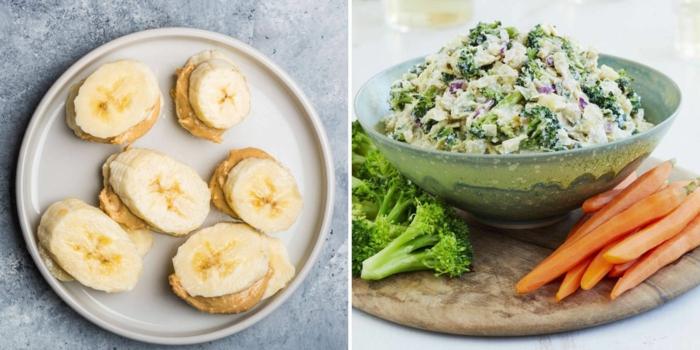 dos ideas para una merienda sana, bocados de pl'atanos con manteca de mani y ensaladilla con brocoli y zanahorias hervidos