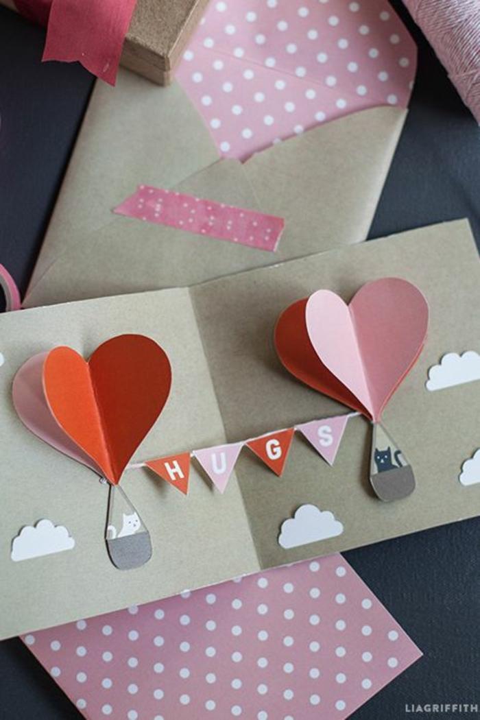 tarjetas 3D con bonitos detalles, paracaidas de corazones de cartulina, detalles para regalar para el Día de San valentin