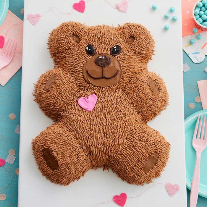 chocolate bear cake topper, best easy cake ideas to impress, homemade birthday cakes