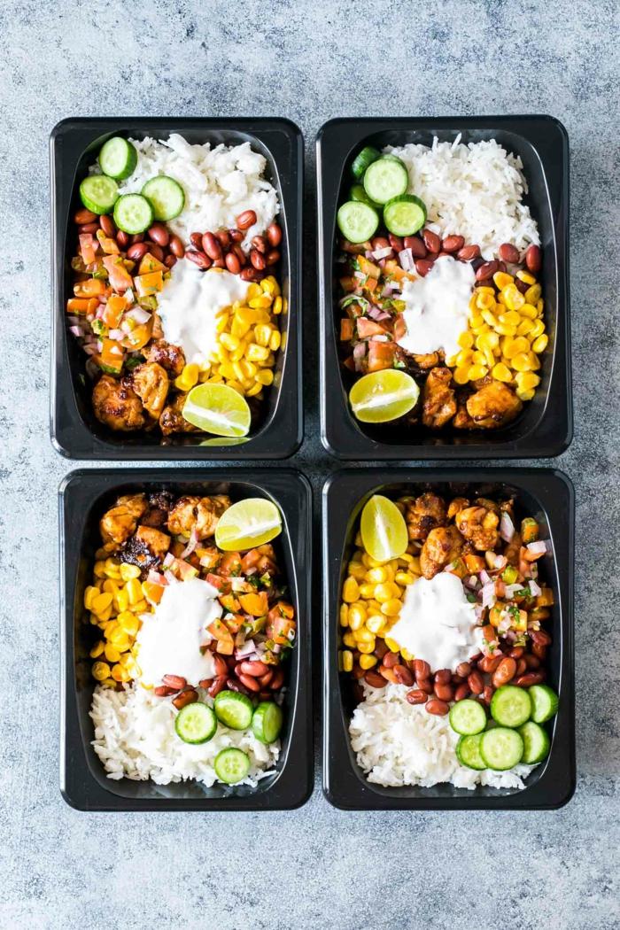 platos con arroz y verduras para llevar al trabajo, ideas para comer originales y saludables para una dieta equilibrada