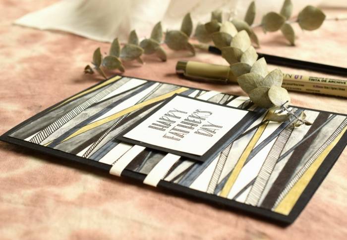 como hacer una bonita tarjeta DIY con rotuladores, fotos de manualidades para regalar, tarjetas del dia del padre
