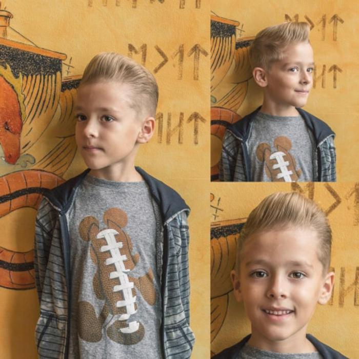 corte de pelo niño con flequillo texturizado hacia arriba, peinados modernos y bonitos, ideas de cortes elegantes