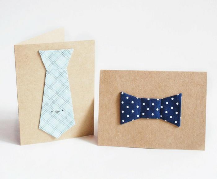 preciosas propuestas de regalos e imagenes del dia del padre, dos tarjetas de cartulina con adornos de tela bonitos