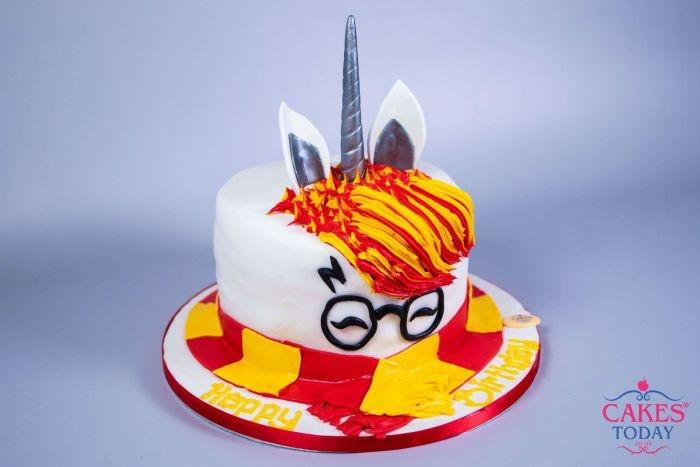 tarta unicornio personalizada Harry Potter, las mejores ideas de tartas caseras fáciles y rápidas, fotos de tartas cumpleaños niño