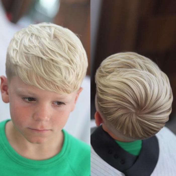 super originales propuestas de corte de pelo niño, niño con cabello rubio claro ligeramente rizado con flequillo a un lado