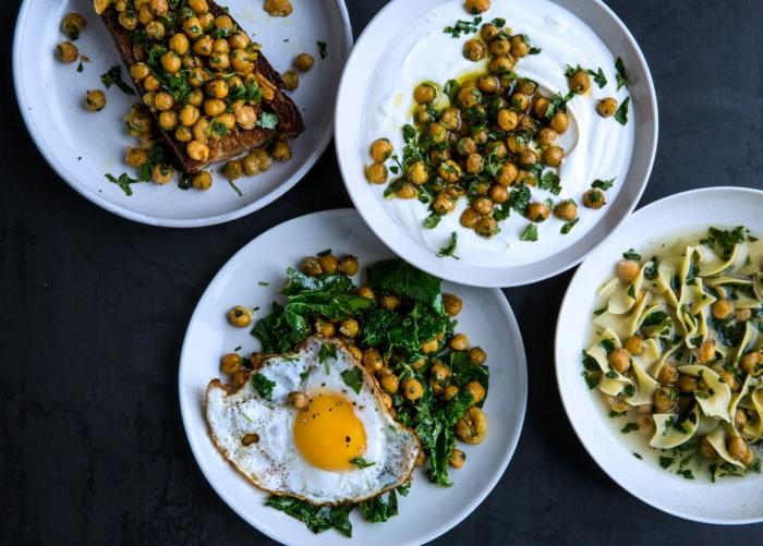 comidas frias para llevar al trabajo, cuatro propuestas de comidas con garbanzos, garbanzos y huevos estrellados