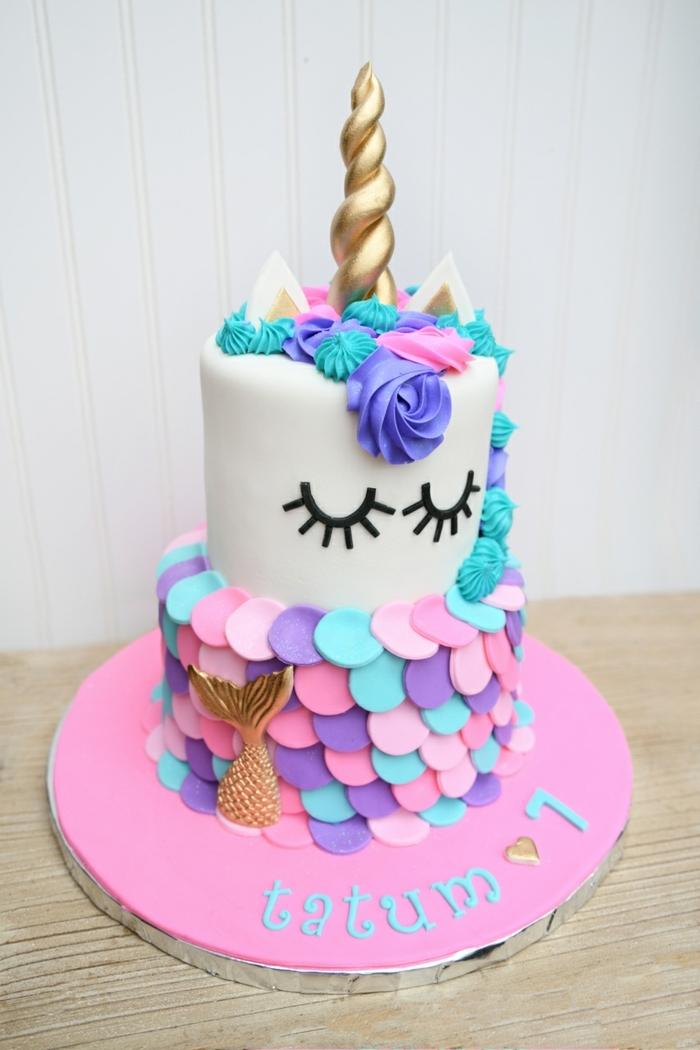 como preparar la mejor tarta de cumpleaños niña, pasteles de unicornio ricas y fáciles de preparar, tartas en fotos