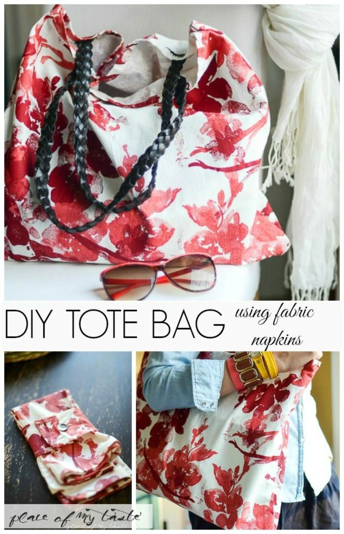 bolsas de tela originales y fáciles de hacer, bolsa con estampado floral, originales ideas de bolsas de tela DIY faciles y rapidas