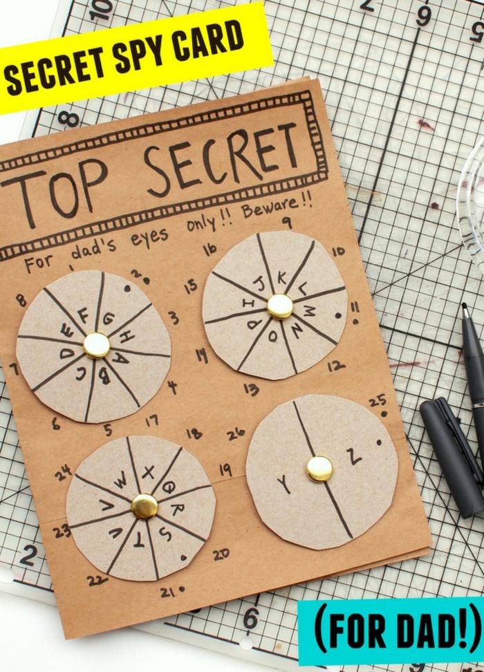 tarjeta super secreta para descifrar y regalar a tu padre, postales del dia del padre originales y fáciles de hacer en casa