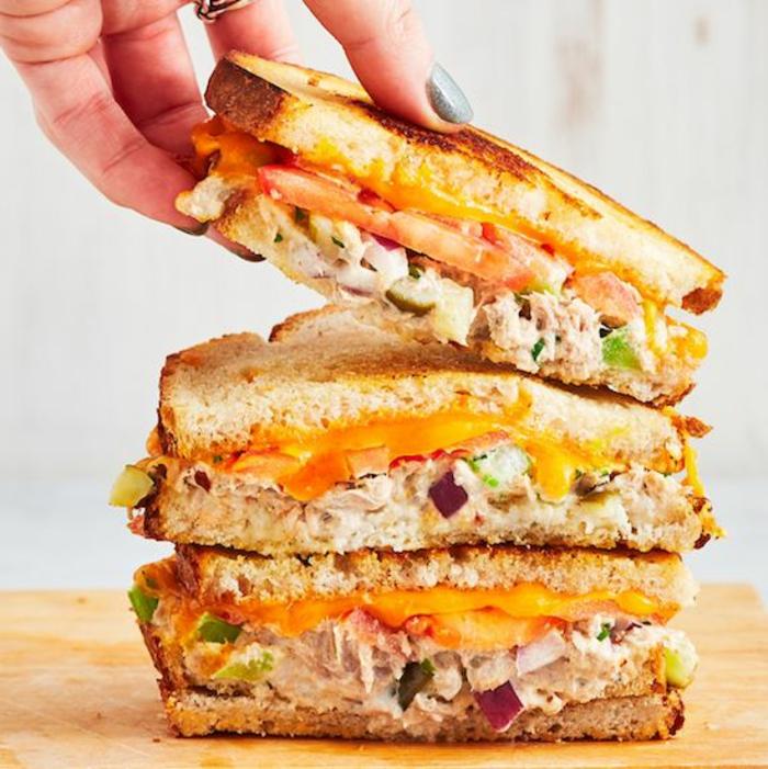 bocadillo con pollo desmenuzado, cebolla roja, queso chedar y tomates, comidas caseras fáciles y rápidas para preparar
