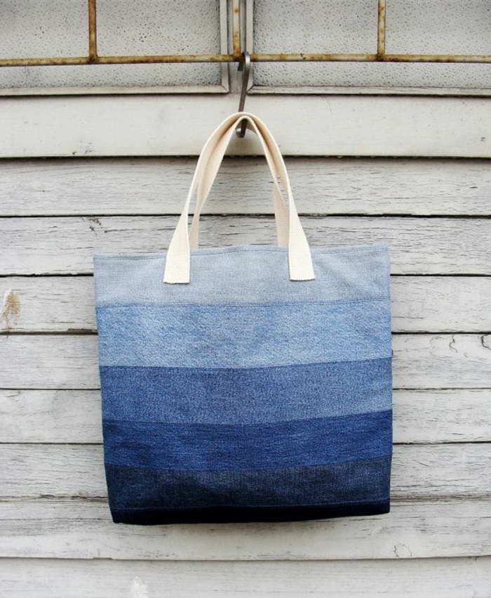 bolsa efecto hombre hecha de jeans viejos, telas de denim reutilizadas para hacer tote bag tela, fotos de detalles DIY