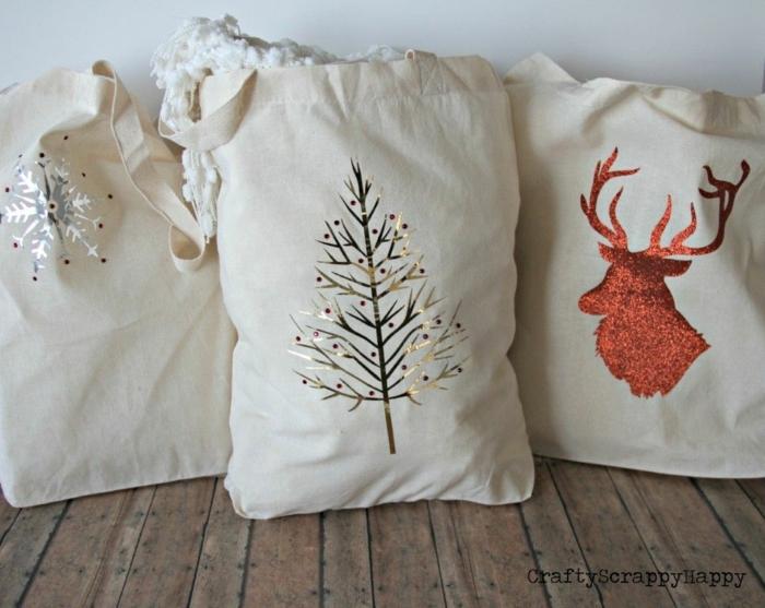 bolsas reutilizables originales para regalar en navidad, ideas sobre como hacer tote bag tela, manualidades reciclaje