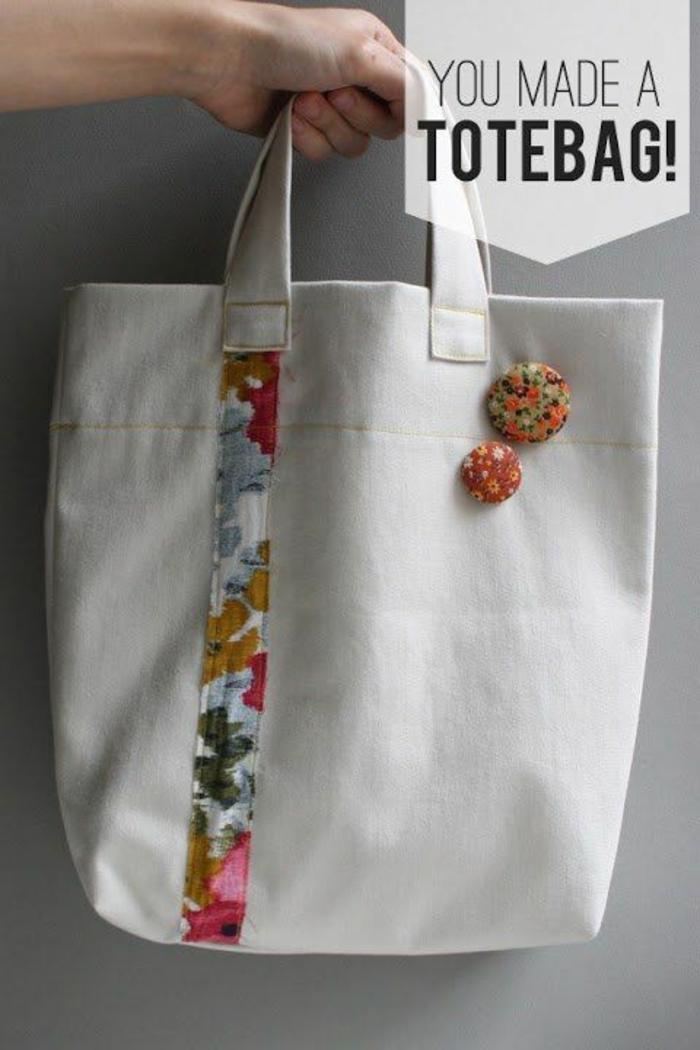 preciosas ideas sobre como hacer tote bag tela, bolsa de tela con detalles bonitos y coloridos, bolsas reutilizables