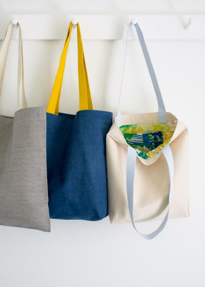 tote bag tela coloridas, las mejores ideas de bolsos reciclaje originales, tote bag tela para ir de compras, fotos de manualidades